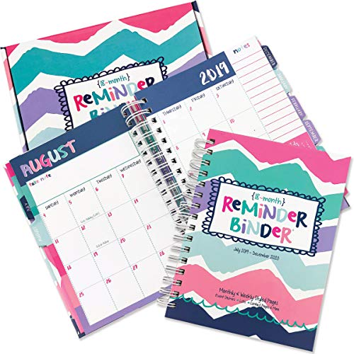 Reminder Binder 2019-2020 18-Month Planner w/ 361 Stickers Weekly & Monthly Views, 6.5