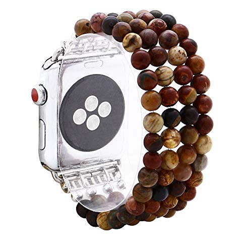 KAI Top Compatible Apple Watch Band Series 3/2/1 38mm 42mm, Unique Handmade Beaded Elastic Stretch Natural Picasso Jasper Stone Fashion Bracelet Strap Women Girls (Picasso Jasper, ()