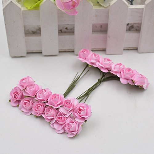 (12pcs/lot Artificial Flower Mini Cute Paper Rose Handmade For Wedding Decoration DIY Wreath Gift Scrapbooking Craft Fake)