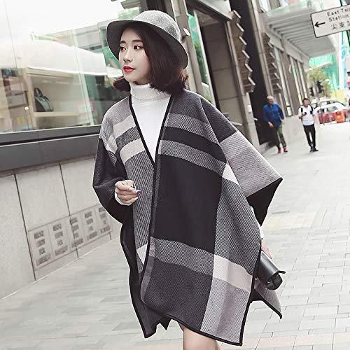 Long Scarf Cloak cloak female autumn and winter plaid European and American style changeable shawl scarf dualuse large thick slit long section Fashion Scarf