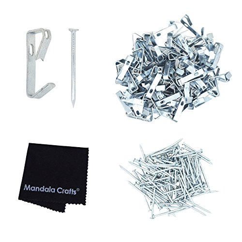 Mandala Crafts Heavy Duty 20 30 50 100 lbs Picture Hooks Hangers with Nails for Hanging on Wall (Small 100 PCs 20 Pounds, - Silver Gallery Wire