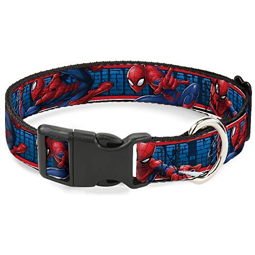 Buckle Down Dog Collar Plastic Clip Spider Man 3 Action Poses Bricks Stripe Blues Red White 15 to 26 Inches 1.0 Inch Wide