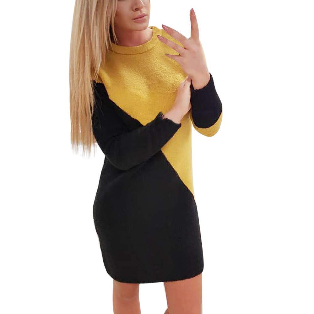 Ginli Donna Sweater Maglia a Colore Contrasto Maglione Girocollo Elegante a Maniche Lunghe