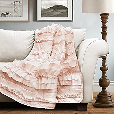"Lush Decor 16T000207 Belle Throw, 60"" X 50"", Pink Blush,60"" X 50"" - Throw: 60H x 50W Fabric Content: 100Percent polyester Machine wash cold in a laundry Mesh bag, with similar colors, gentle cycle. Use only non-chlorine bleach when needed. Tumble dry low, light iron if needed - blankets-throws, bedroom-sheets-comforters, bedroom - 51mZQTlMh2L. SS400  -"
