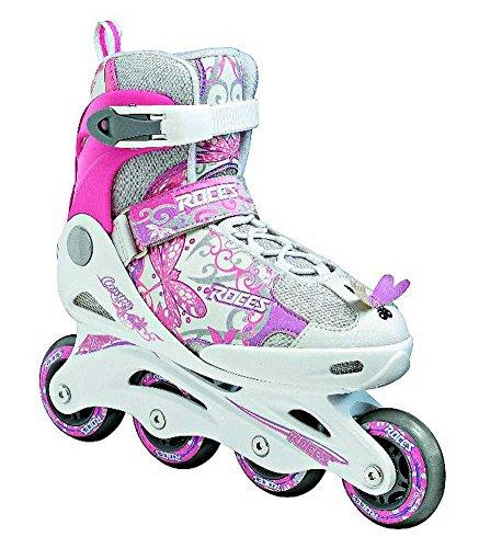隠された十分です滅多Roces Kid 's Girls Compy Fitness Inline Skatesブレードホワイト/ピンク400809
