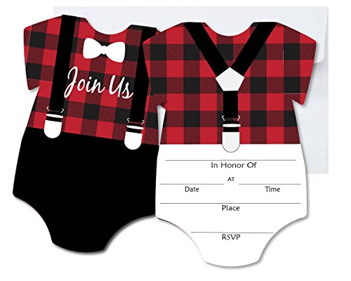 Lumberjack Blank Invites 10 Pack Fill In Invitations with Envelopes for Baby Shower 1st Birthday Red Black Buffalo Plaid ()