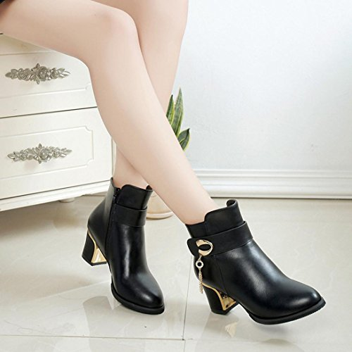 Elevin(TM) 2018Women Winter Fashion Leather Martin Ankle Boots Square High Heels Platform Shoes Black E36DS1