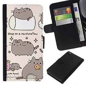 KingStore / Leather Etui en cuir / HTC DESIRE 816 / Pussy Cat Gris Sleep Marshmallow Juego