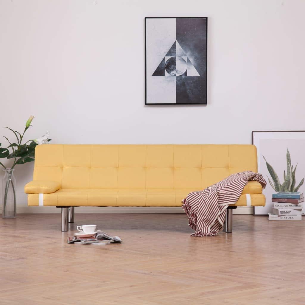 vidaXL Sofá Cama con Dos Almohadas Poliéster Sillones Salón Comedor Sala de Estar Muebles Mobiliario Decoración Colchón Somier Casa Hogar Amarillo