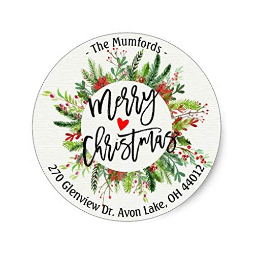 Merry Christmas Holly Wreath Return Address Labels Christams Gifts Decoration Stickers Tag