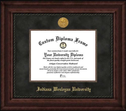 - Indiana Wesleyan University Wildcats - Gold Medallion - Suede Mat - Mahogany - Diploma Frame