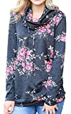 Angashion Womens Sweatshirt Cowl Neck Floral Print Drawstring Long Sleeve Tunic Tops Shirt
