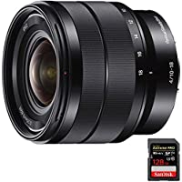 Sony 10-18mm f/4 Wide-Angle Zoom E-Mount Lens (SEL1018) with Sandisk Extreme PRO SDXC 128GB UHS-1 Memory Card