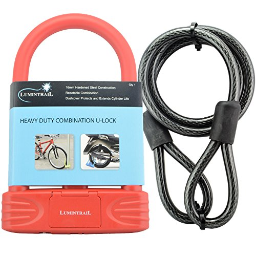 Lumintrail 16mm Heavy Duty 4-Digit Bicycle Bike Combination U-Lock with 4 ft Cable - Assorted Colors