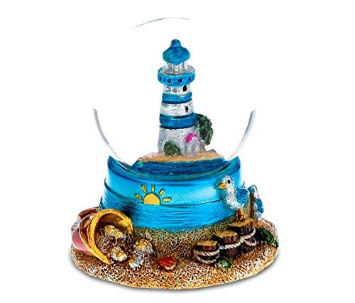 CoTa Global Resin Stone Cool Summer Lighthouse Coastal Snow Globe (45mm), 2.75
