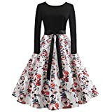 Anxinke Women Retro Halloween Pumpkin Printing Long Sleeve Swing Dress (S, White)