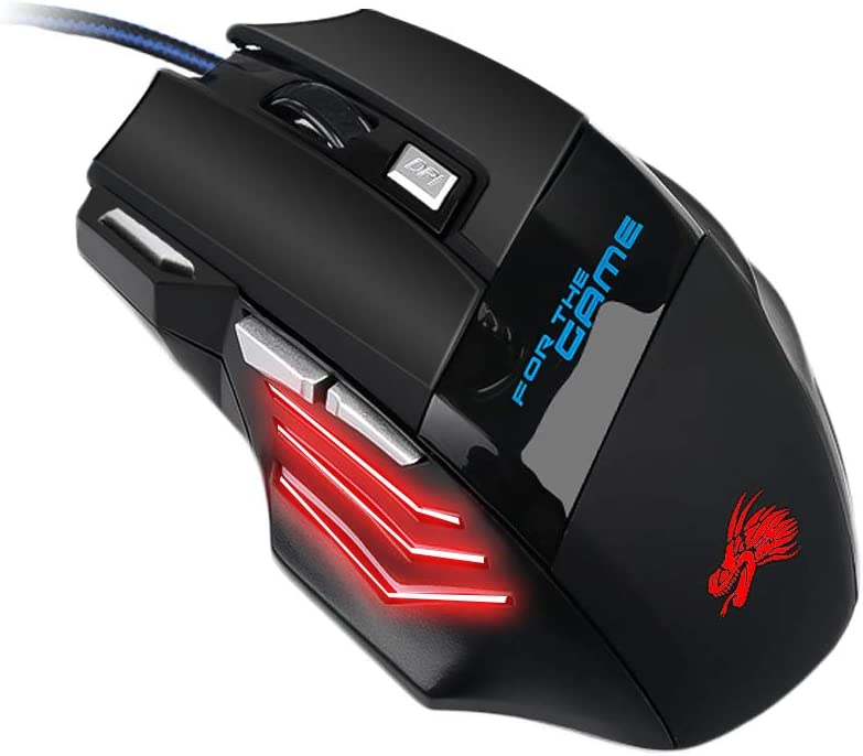 Redcolourful Gaming Mouse 7 Button USB Wired LED Breathing Fire Button 3200 DPI for Laptop PC 12.5