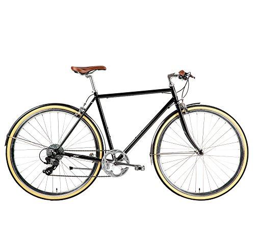 Populo Bikes Legend 8-Speed Classic All City Bike Steel Urban City Commuter Bicycle, Black, 54cm/Medium