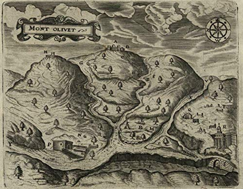 (Mount of Olives Holy Land Palestine 1670 rare antique engraved birds-eye)