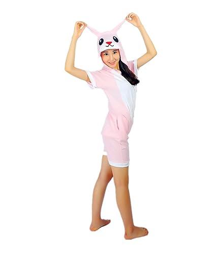 Kenmont Unicorn Pijamas Traje Disfraz Adulto Animal Pijamas Cosplay Halloween Verano (L: 165-175cm, Rosa Conejo)