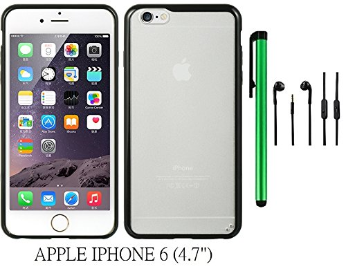 """APPLE IPHONE 6 (4.7"""") FUSION Phone Case - Premium CANDY TPU EMBED TINTED PC Design Protector Cover Case + 3.5MM Stereo Earphones + 1 of New Metal Stylus Touch Screen Pen (BLACK)"""