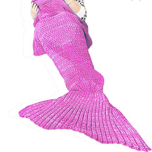 JR.WHITE Mermaid Tail Blanket for Kids and Adult,Hand Crochet Snuggle Mermaid,All Seasons Seatail Sleeping Bag Blanket