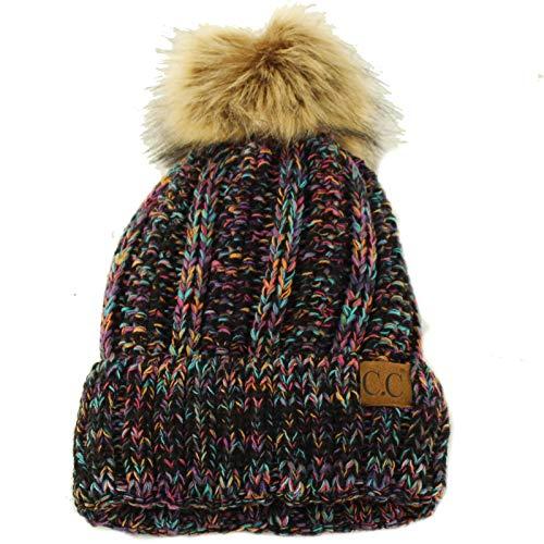 - Winter Sherpa Fleeced Lined Chunky Knit Stretch Pom Pom Beanie Hat Cap Mix Multi