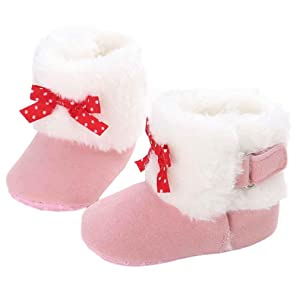 AMA(TM) Toddler Baby Girl Keep Warm Snow Boots Soft Sole Crib Shoes (0~6 Month, Pink)
