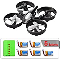 Mysterystone H36 Mini RC Quadcopter Drone with 5 Battery and Charger, Nano Drone Kit for Office RTF 2.4G 4CH 6 Axis with Headless Mode One Key Return, Mode 2 Remote Control UFO Drone for Kids (Black)
