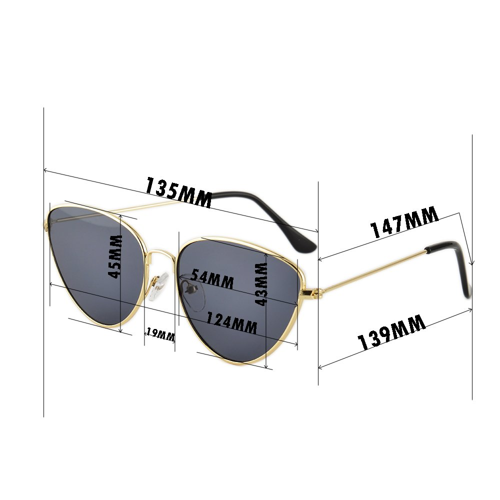 Gudzws Retro Vintage Stylish Sunglasses Cat Eye Metal Glasses Unisex with Pouch