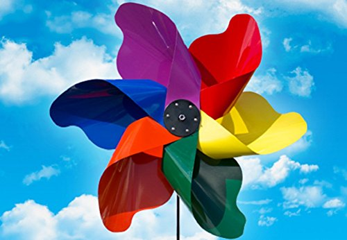 Whirlygig Outdoor Pinwheel Yard Art Wind Spinner Large Metal Bright Multi Color (36'-Large)