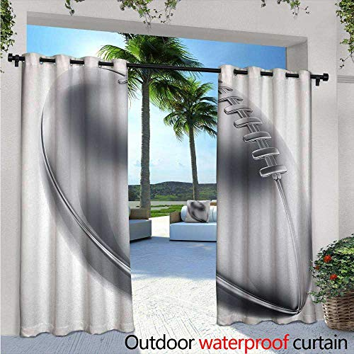 BlountDecor Silver Fashions Drape Realistic American Football in 3D Style Sports Theme Champion Victory Trophy Outdoor Curtain Waterproof Rustproof Grommet Drape W108 x L84 Gray Silver White
