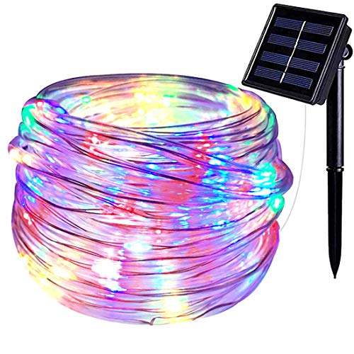 SEMILITS Solar Outdoor String Lights 100LED 33Ft Copper Fairy String Lights Waterproof LED Rope Lights for Patio Easter Christmas Party