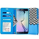 S6 Edge+ Case, Galaxy S6 Edge Plus Case, Cellularvilla Wallet [Stand Feature] [Slim Fit] Premium PU Leather Flip Cover [3 Card Slots] For Samsung Galaxy S6 Edge+ / S6 Edge Plus (Zig Zag Baby Blue)