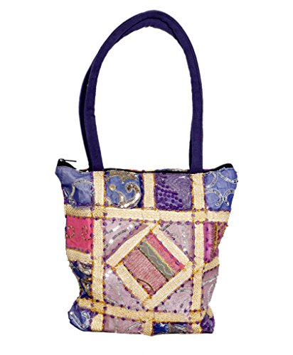 Indistar Women's Hand-crafted Cotton Patch Work Gujarati Hand Bag 82183-iw