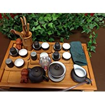 Musiccitytea Yixing Tea Set with Black and White Set 30pcs Large Set with Large Bamboo Tea Tray