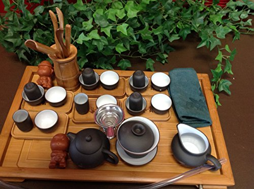 (Musiccitytea Yixing Tea Set with Black and White Set 30pcs Large Set with Large Bamboo Tea Tray)