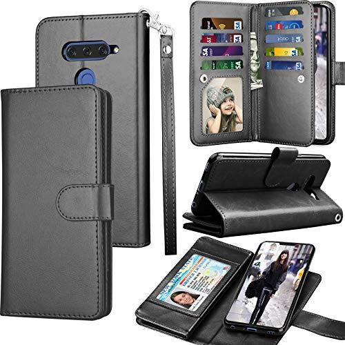 LG V40 Case, LG V40 ThinQ Wallet Case, LG V40 Carrying Case, Tekcoo Luxury ID Cash Credit Card Slots Holder PU Leather Folio Flip Cover Cases [Detachable Magnetic Hard Case] Kickstand - Black