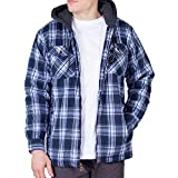 Walnut Creek Mens Fleece Lined Plaid Flannel Jacket (X-Large, Twilight)