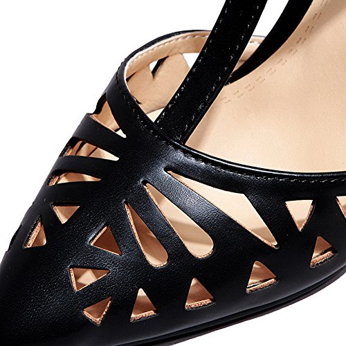 AgooLar Women's Buckle Pointed Closed Toe High-Heels PU Solid Sandals Black iiErD6P0y3