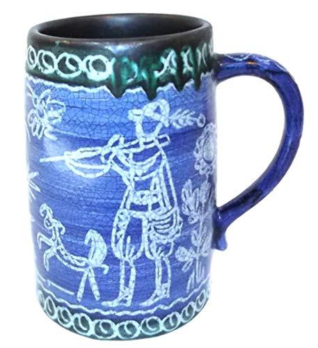 (Vintage Large Stoneware Mug Hand Painted Deer Hunting Scene Beer Stein Tankard)