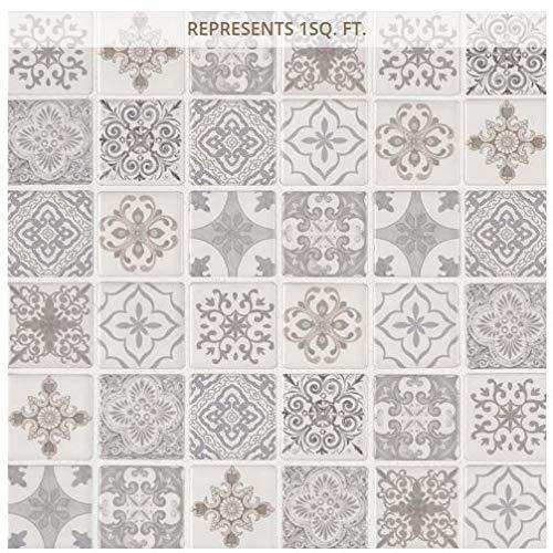 Anya Blanco Encaustic 12 in. x 12 in. x 6 mm Glazed Ceramic Mesh-Mounted Mosaic Tile