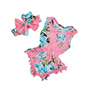 iClosam Baby Girl's Floral Print Sleeveless Tassel Romper Summer Clothes with Headband
