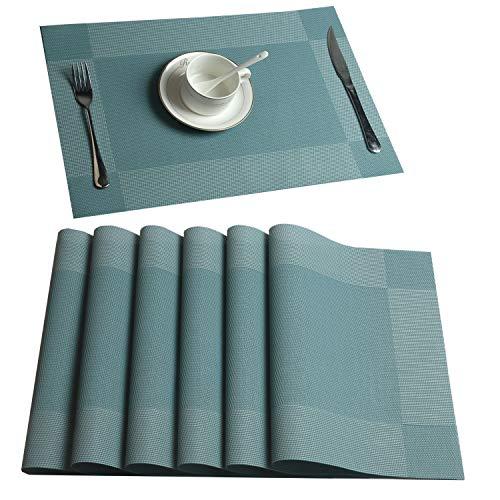 (U'Artlines Placemat, Crossweave Blue Woven Vinyl Non-Slip Insulation Placemat Washable Table Mats Set of 6)