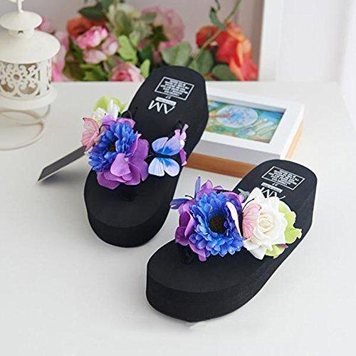 Scothen Mensaje del dedo del pie sandalias para la flor de zapatos de playa tirón de las mujeres fracasos zapatillas sandalias de deslizamiento de vacaciones de verano sandalias romanas sandalias I