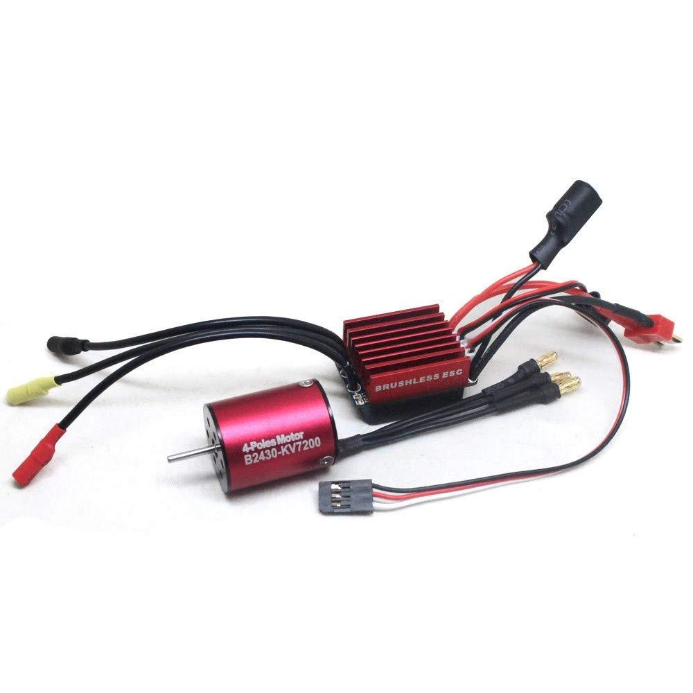 Maonet 2430 7200KV 4P センサーレス ブラシレスモーター 4ポール 高トルクモーター 35A ブラシレスESC 1/16 1/18 RCカー用 レッド MAT-4532 B07LBG8PVJ レッド
