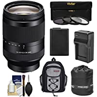 Sony Alpha E-Mount FE 24-240mm f/3.5-6.3 OSS Zoom Lens with 3 Filters + Battery & Charger + Backpack + Pouch Kit for A7, A7R, A7S Mark II Cameras