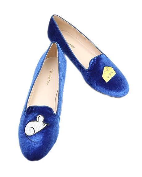C. Wonder Time - Mocasines de Terciopelo para Mujer Azul Azul, Color Azul, Talla 39,5 EU: Amazon.es: Zapatos y complementos