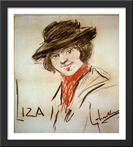 Drawing of Eliza Doolittle, a Character from George Bernard Shaw's Play Pygmalion 28x32 Large Black Wood Framed Print Art by George LUKS