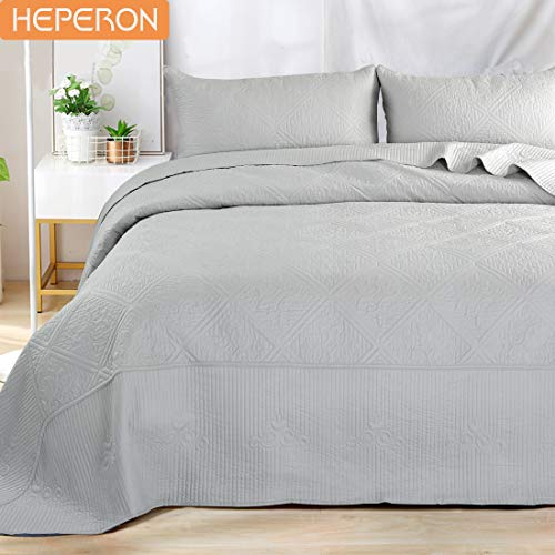 (HEPERON Bedspread Queen Size Soft Microfiber Cotton Fitting Gray 3-Piece Quilted Reversible Coverlet Set for All Season,1 Bed Cover + 2 Pillow Shams)